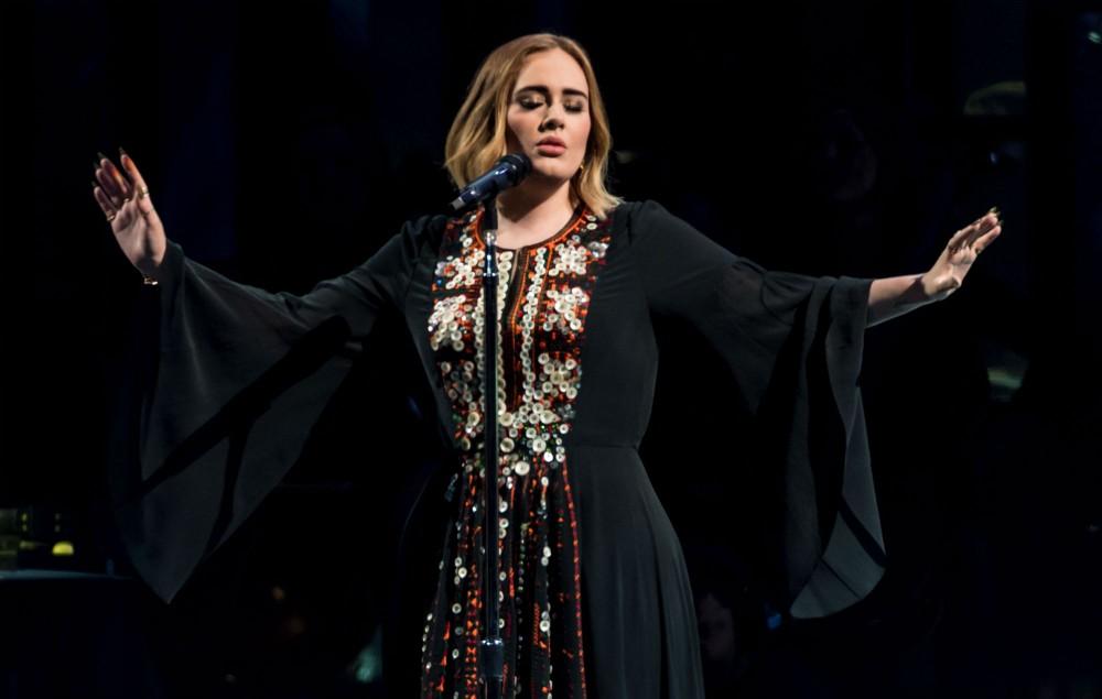 Adele performing at Glastonbury 2016