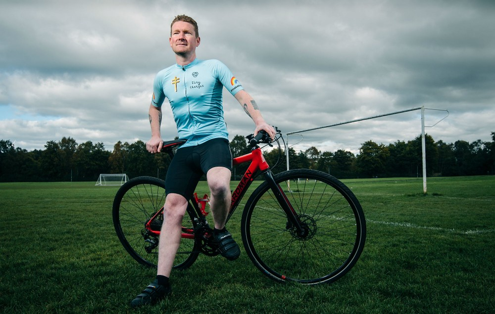Stephen Kirley raised money for Tiny Changes on a charity bike ride. Credit: Andrew Cawley