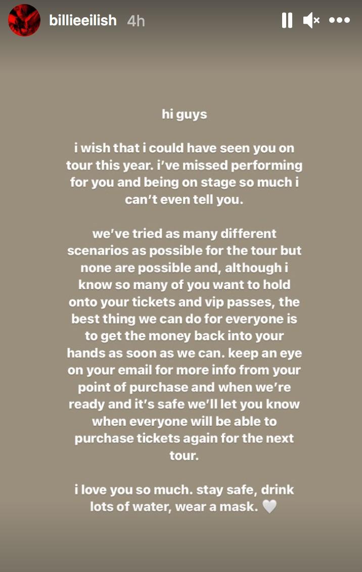 billie eilish tour cancel screenshot