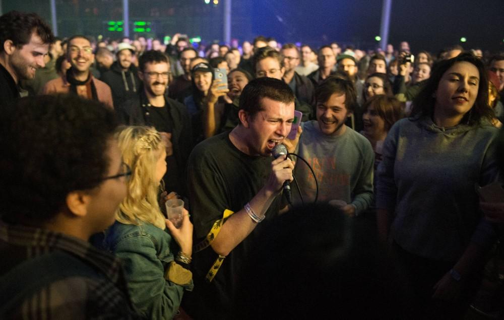 Charlie Steen from Shame performs at Pitchfork Festival at Grande Halle de La Villette on October 29, 2016 in Paris, France. (Photo by David Wolff - Patrick/Redferns)